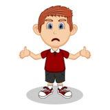 Ein Junge mit einem Ausdruck der Erstaunen- und Traurigkeitskarikatur Stockbild