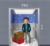 Ein Junge mit zwei Reisetaschen innerhalb des Aufzugs Lizenzfreie Stockfotos