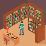 Ein Junge wählte Bücher und Wartung den Bibliothekar Lizenzfreie Abbildung