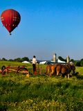 Ein junger amischer Mann schneidet Gras auf dem Gebiet, wenn ein Heißluftballon oben schwebt lizenzfreie stockfotos