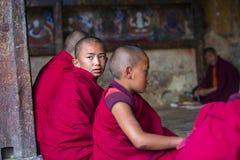Ein junger Anfängermönch von Bhutan seinen Kopf drehen, um den Himmel während der Studie anzustarren, Bhutan lizenzfreie stockfotografie