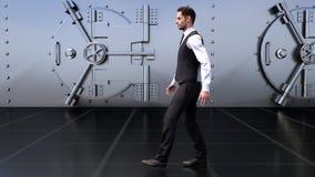 Ein junger Geschäftsmann geht durch das Safe in der Bank Wiedergabe 3d Stockbilder