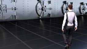 Ein junger Geschäftsmann geht zum Safe Wiedergabe 3d Stockfoto
