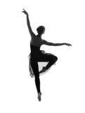 Ein junger kaukasischer Balletttänzer in einem schwarzen Kleid Stockbild