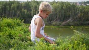 Ein junger Kerl sitzt auf den Banken des Flusses Schöne Sommerlandschaft stock video