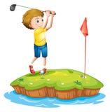 Ein junger Mann, der Golf spielt stock abbildung