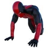Ein junger Mann im roten und schwarzen Superanzug Schleichen auf seinen Knien stock abbildung