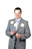 Ein junger Mann mit Aufklebern Lizenzfreie Stockbilder