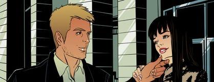 Ein junger Mann mit einem Mädchen in der Stadt Stockbild