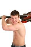 Ein junger Mann mit einer Gitarre in den Händen Stockfotos