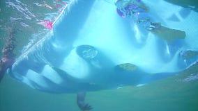 Ein junger Mann schwimmt auf eine aufblasbare Matratze stock footage