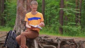 Ein junger Mann sitzt im Wald und liest ein Buch stock video footage