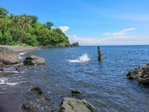 Ein junger Mann springt von einem Flussstein in das Wasser Die Klippen von abstrakten Formen stehen über der Oberfläche hervor Kr lizenzfreie stockbilder