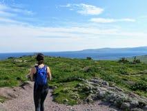 Ein junger weiblicher Wanderer, der entlang einer Spur durch eine Wiese mit dem schönen blauen Atlantik im Hintergrund wandert lizenzfreies stockfoto