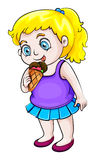 Ein junges asiatisches Mädchen, das Eiscreme isst lizenzfreie abbildung