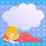 Ein junges Mädchen, das mit einem leeren Hinweis schläft lizenzfreie abbildung