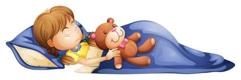 Ein junges Mädchen, das mit einem Spielzeug schläft stock abbildung