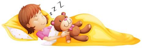 Ein junges Mädchen, das mit ihrem Spielzeug schläft Lizenzfreies Stockfoto