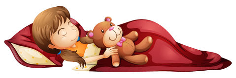 Ein junges Mädchen, das solid mit ihrem Spielzeug schläft Stockbilder