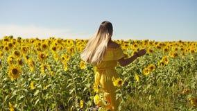 Ein junges Mädchen in einem gelben Kleid läuft über das Feld in den Sonnenblumen Langsame Bewegung stock footage