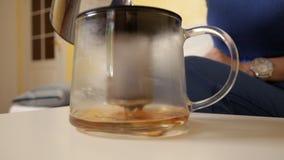 Ein junges Mädchen gießt Wasser in einer speziellen Teekanne für Brauentee Brauentee Die chinesische Teekanne des Lehms, zwei Cup stock footage