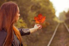 Ein junges Mädchen hält ein Ahornblatt in einem Herbstwald stockfotografie