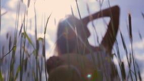 Ein junges Mädchen mit dem langen dunklen Haar, das auf einem grünen Feld steht stock video
