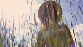 Ein junges Mädchen mit dem langen dunklen Haar, das auf einem grünen Feld steht stock video footage