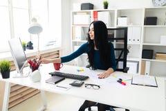 Ein junges Mädchen sitzt im Büro an einem Tisch und an den Birken von einem Bleistiftvase Lizenzfreie Stockbilder