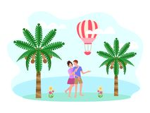 Ein junges Paar auf ihren Flitterwochen durch den Ozean stock abbildung