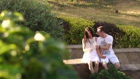 Ein junges Paar in der Liebe sitzt auf einem Steingeländer im Park und im Küssen stock video footage