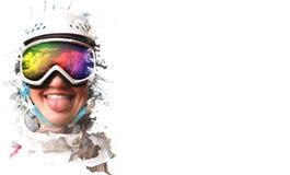 Ein junges Snowboardmädchen, das einen Sturzhelm tragen und Gläser setzten heraus ihre Zunge Die Maske reflektiert die Nachfrage Stockbilder