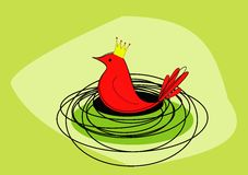 Ein königlicher roter Vogel sitzt auf ihm ist Nest - Raster Lizenzfreies Stockbild