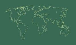 Ein kühler und einfacher grüner Weltkarte- oder Atlasentwurf von verschiedenen Ländern und von Kontinenten stock abbildung