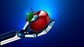 Ein künstliches Glied, das einen Apfel - medizinisches Prostheticstechnologiekonzept hält Lizenzfreie Stockfotos