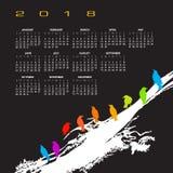 Ein Kalender 2018 mit einer Menge von Vögeln Stockbild
