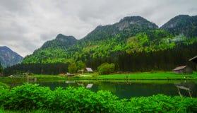 Ein Kampieren an einem See in der Landschaft von Österreich vor Kiefer f Stockfoto
