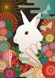 Ein Kaninchen und ein Japanisch-Art Hintergrund Lizenzfreie Stockfotos
