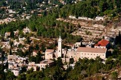 Ein Karem Villiage鸟瞰图在耶路撒冷以色列 免版税库存图片