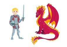 Ein Karikaturdrache und junger ein Rittercharakter in seiner Klage der Rüstung eine Klinge und ein Schild halten Stockbild