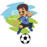 Ein Karikaturfußballspieler spielt Ball in einem Stadion in der Uniform lizenzfreie abbildung