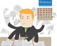 Ein KarikaturgehaltsBüroangestellter ist bemüht, mit Umarmung über die Zeit hinaus zu arbeiten Lizenzfreies Stockbild