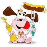 Ein Karikaturhund mit Wurst Lizenzfreies Stockfoto