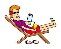 Ein Karikaturmann in einem deckchair mit einer Tablette und einem Saft Die Schlangejagd im Labyrinth stock abbildung