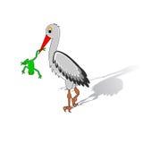 Ein Karikaturstorch, der einen Frosch in seinem Schnabel hält stock abbildung