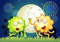 Ein Karneval mit zwei sehr glücklichen Monstern stock abbildung
