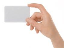 Ein Kartenleerzeichen in einer Hand Lizenzfreies Stockfoto