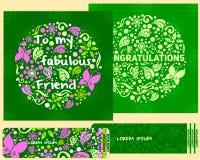 ein Kartenstapel für Glückwünsche und Einladungen im Stil der Kinder Stockfotos