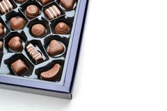 Ein Kasten Luxusschokoladen Stockfoto
