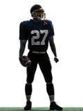Des Spieler-Mannes des amerikanischen Fußballs des Quarterbacks stehendes Schattenbild Lizenzfreie Stockbilder